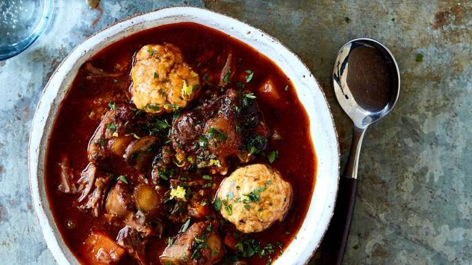 Oxtail mushroom and dumpling soup